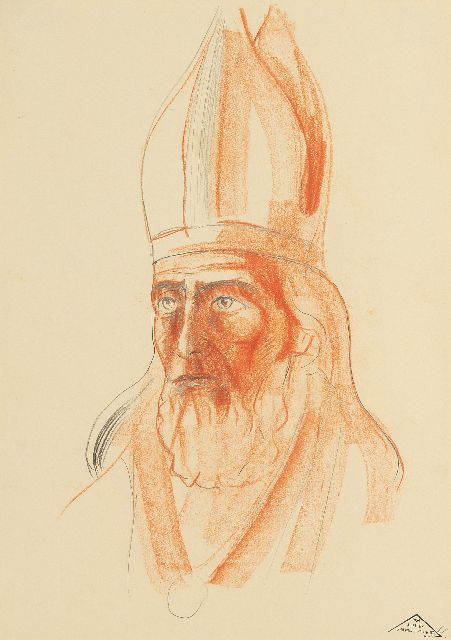 Lodewijk Schelfhout | Portrait of a saint wearing a mitre, pencil and chalk on paper, 34.0 x 20.0 cm