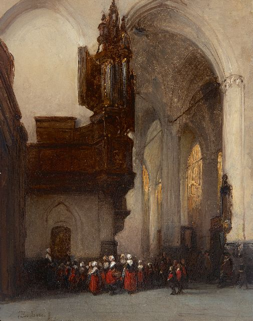 Johannes Bosboom | Amsterdam orphans in the Nieuwe Kerk, oil on panel, 29.2 x 23.0 cm, signed l.l.