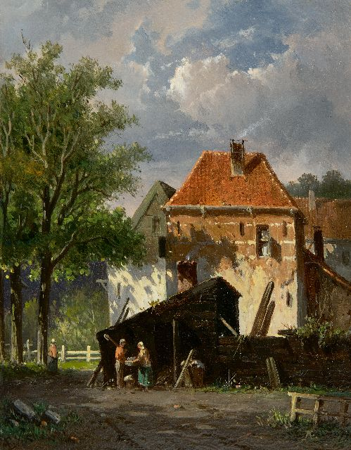 Adrianus Eversen | A sunny town scene (possibly Harderwijk), oil on panel, 19.1 x 15.1 cm, signed l.r. with monogram