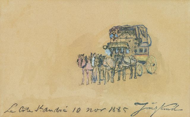 Johan Barthold Jongkind | The stagecoach, La Côte-Saint-André, black chalk and watercolour on paper, 10.3 x 16.7 cm, signed l.r. with the artist's stamp and dated 'La Côte St. André 10 nov 1885'