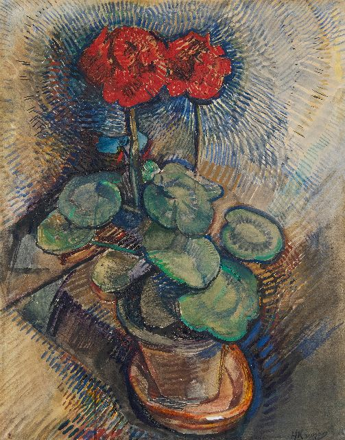Herman Kruyder | Red geranium, gouache on paper, 64.6 x 49.9 cm, signed l.r.