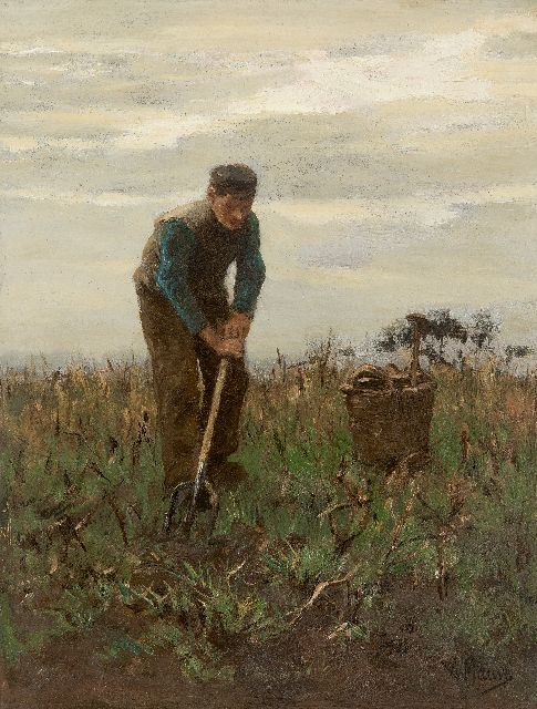 Anton Mauve | Digging potatoes, oil on panel, 32.0 x 24.4 cm, signed l.r.
