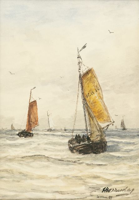 Hendrik Willem Mesdag | After the storm at Scheveningen, watercolour and gouache on paper, 36.6 x 26.7 cm, signed l.r. and dated 30 Mei 97