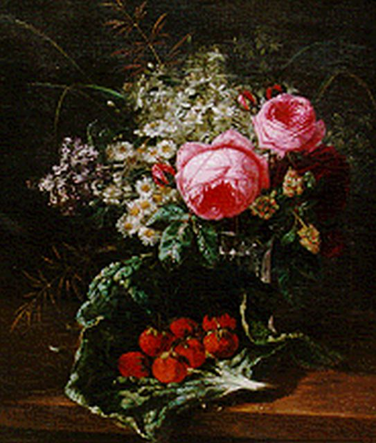 François Huygens | A still life with peonies and strawberries, oil on canvas, 50.7 x 44.0 cm, signed l.r.