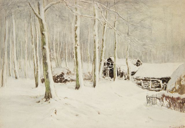 Louis Apol | Snowy barns in the forest, gouache on paper, 36.5 x 52.1 cm, signed l.r.
