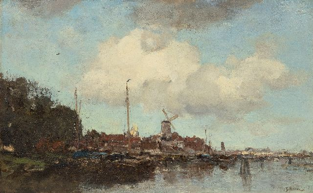 Jacob Maris | Town on a river, oil on canvas, 47.1 x 75.6 cm, signed l.r. and painted ca. 1875
