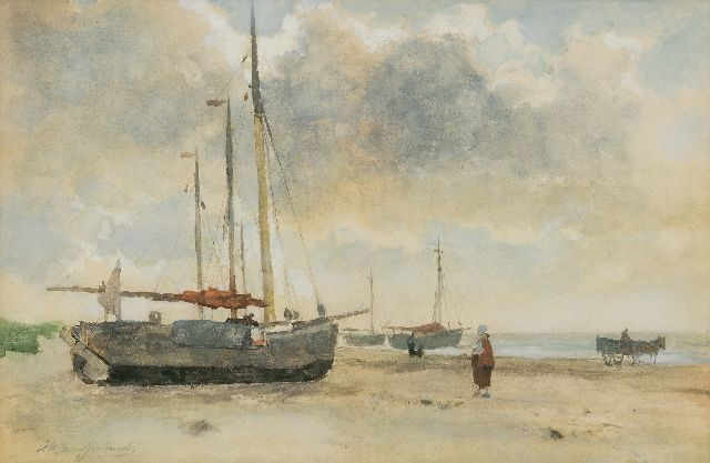Jan Hendrik Weissenbruch | Fishing boats on the beach, watercolour on paper, 32.8 x 49.6 cm, signed l.l.