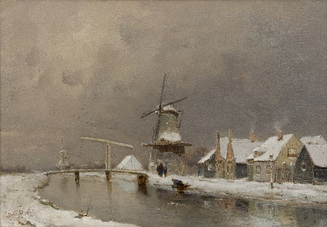 Louis Apol | Winter view of a village on a river, oil on canvas, 35.3 x 50.2 cm, signed l.l.