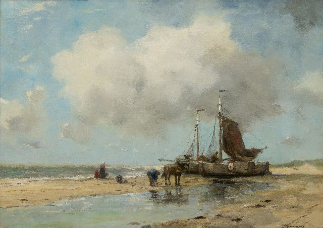Johan Frederik Cornelis Scherrewitz | Fishing vessels on the beach, oil on canvas, 59.8 x 84.2 cm, signed l.r.