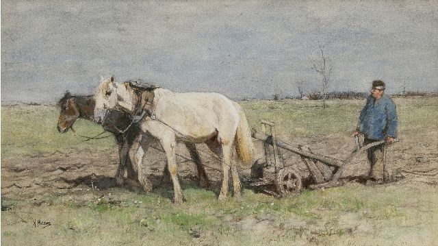 Anton Mauve | The plowman, watercolour on paper, 35.0 x 62.0 cm, signed l.l.