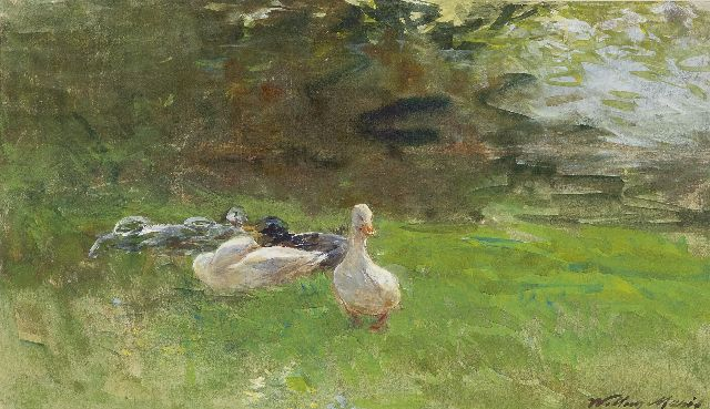 Willem Maris | Ducks on the grass, watercolour on paper, 16.4 x 28.4 cm, signed l.r. and painted ca. 1880-1890