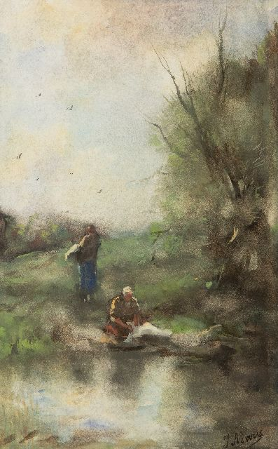 Jacob Maris | Washerwomen by the river, watercolour on paper, 38.8 x 24.5 cm, signed l.r. and painted ca. 1888-1889