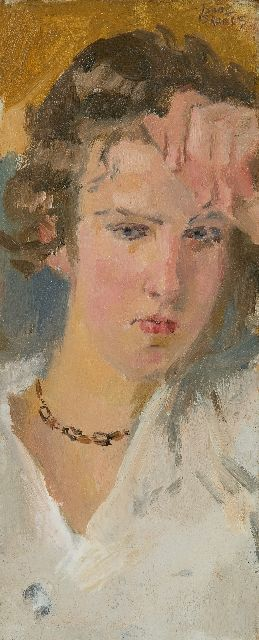 Isaac Israels | Portrait of a young woman, oil on panel, 23.0 x 9.5 cm, signed u.r. and te dateren ca. 1910-1915