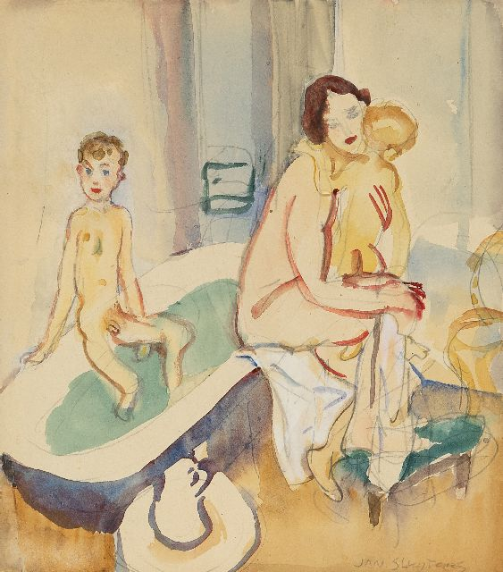 Jan Sluijters | The bathroom (the artist's wife with Liesje and Jan jr.), pencil and watercolour on paper, 21.7 x 19.4 cm, signed l.r. and painted ca. 1949