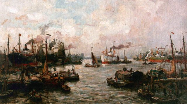 Evert Moll | Activities in the Rotterdam harbour, oil on canvas, 24.3 x 40.8 cm, signed l.r.
