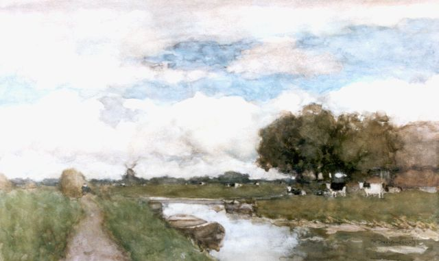 Jan Hendrik Weissenbruch | Cows in a polder landscape, watercolour on paper, 38.0 x 61.5 cm, signed l.r.