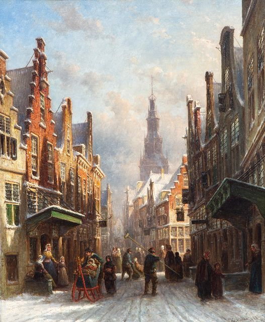 Petrus Gerardus Vertin | Hustle and bustle in a snow-covered Dutch town, oil on panel, 61.2 x 50.2 cm, signed l.r. and dated '77
