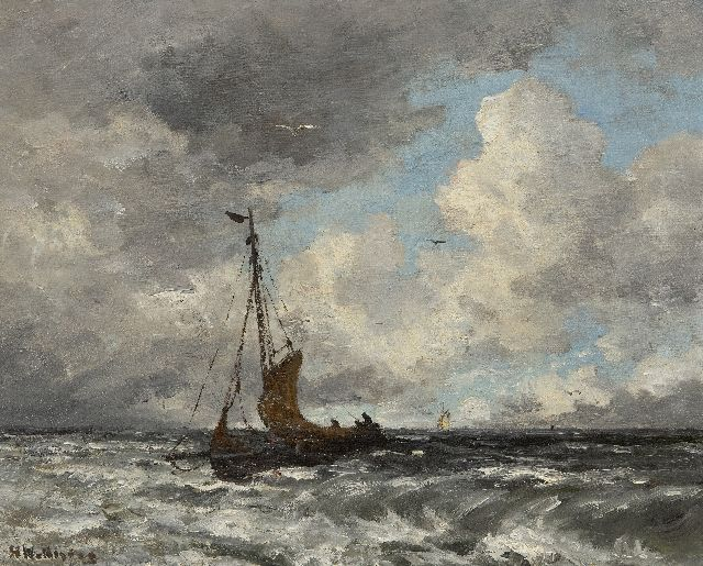 Hendrik Willem Mesdag | Fishing smack on the North Sea, oil on canvas laid down on board, 40.2 x 50.6 cm, signed l.l.
