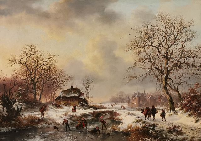 Frederik Marinus Kruseman | A winter scene with country folk and skaters, oil on canvas, 52.4 x 72.5 cm, signed l.r. and dated 1861