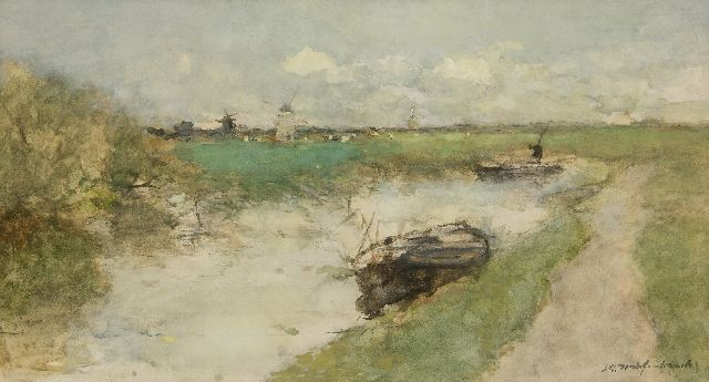 Jan Hendrik Weissenbruch | A polder landscape, watercolour on paper, 30.0 x 54.6 cm, signed l.r.
