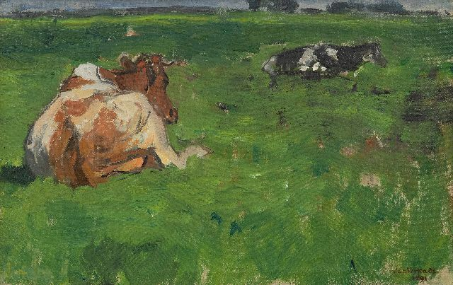 Jan Verkade | Cows resting in a meadow, oil on canvas, 26.5 x 41.4 cm, signed l.r. and dated 1891