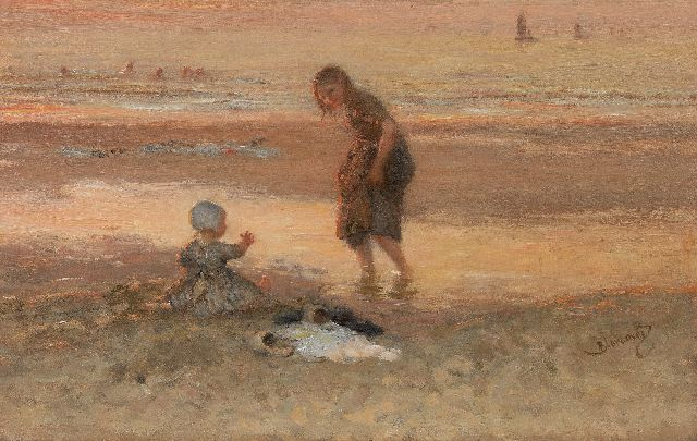Bernard Blommers | Paddling at low tide, oil on canvas, 45.2 x 71.1 cm, signed l.r.