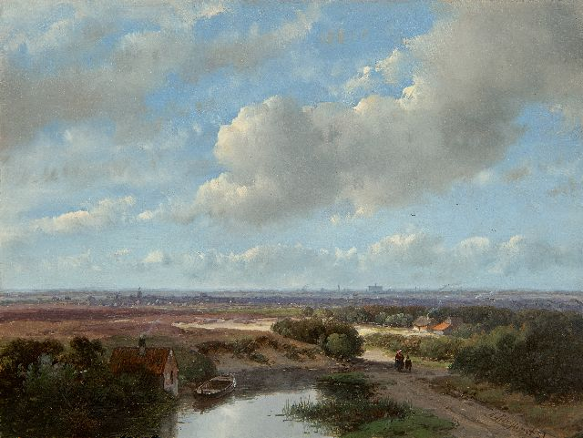 Andreas Schelfhout | Panoramic landscape with the St. Bavokerk of Haarlem and a steam train on the horizon, oil on panel, 17.3 x 22.9 cm, signed l.r. and dated '57