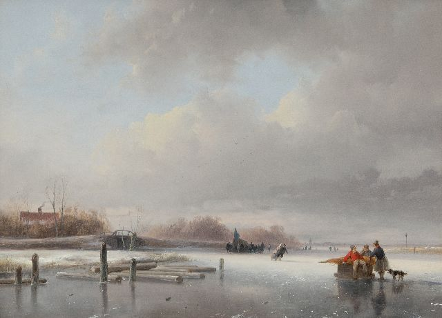 Schelfhout A.  | Frozen river with skaters and a koek and zopie, oil on panel 29.5 x 40.0 cm, signed l.l. and painted ca. 1832-1834