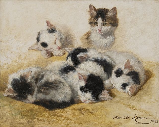 Henriette Ronner-Knip | Young kittens, oil on panel, 32.2 x 40.3 cm, signed l.r. and dated 1892