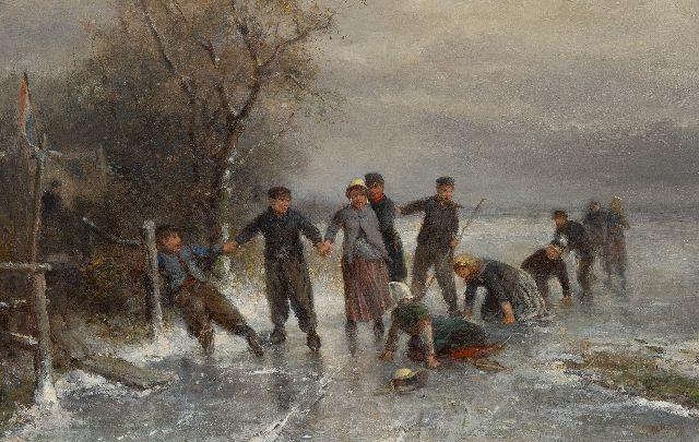 Mari ten Kate | A fall on the ice, oil on canvas, 41.0 x 63.9 cm, signed l.r.