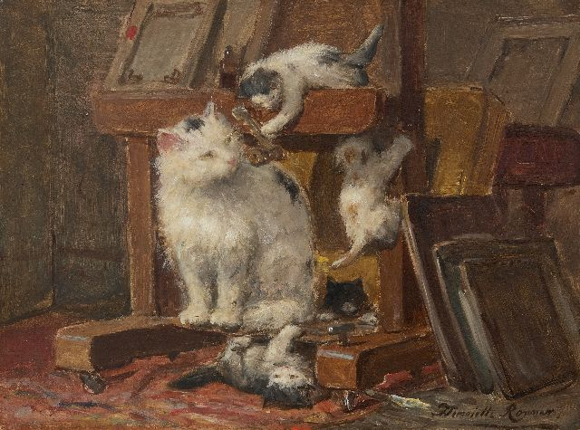 Henriette Ronner-Knip | Mother cat with kittens in the studio, oil on paper laid down on panel, 28.1 x 37.1 cm, signed l.r.