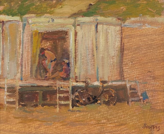 Hans Bayens | Bathing huts on the beach, oil on canvas, 27.0 x 33.0 cm, signed l.r.