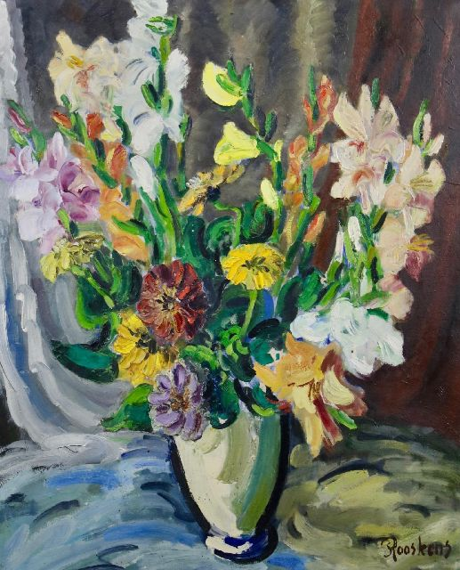 Anton Rooskens | Flowers in a vase, oil on canvas, 89.8 x 75.2 cm, signed l.r. and late 1930s