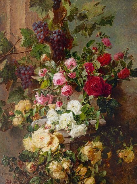 Adriana Haanen | Still life with roses and grapes, oil on canvas, 101.6 x 76.5 cm, signed lr. and dated 1874