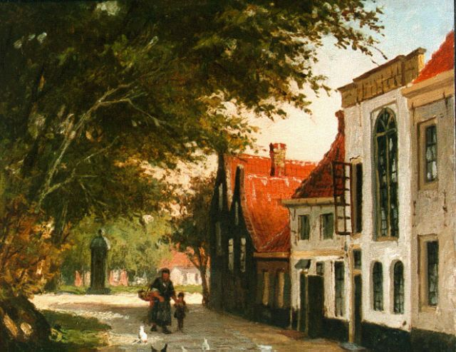 Johannes Jacobus Mittertreiner | A townview in summer with mother and child, oil on panel, 14.5 x 18.2 cm, signed l.r.