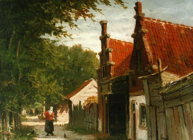 Johannes Jacobus Mittertreiner | A sunlit townview, oil on panel, 15.2 x 19.0 cm, signed l.r.
