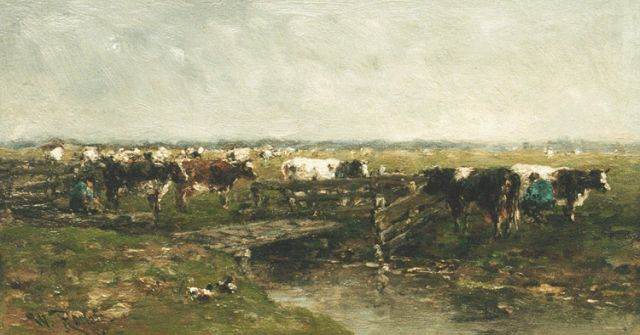 Roelofs W.  | Cows grazing near Gouda, oil on panel, 22.5 x 41.2 cm, signed twice