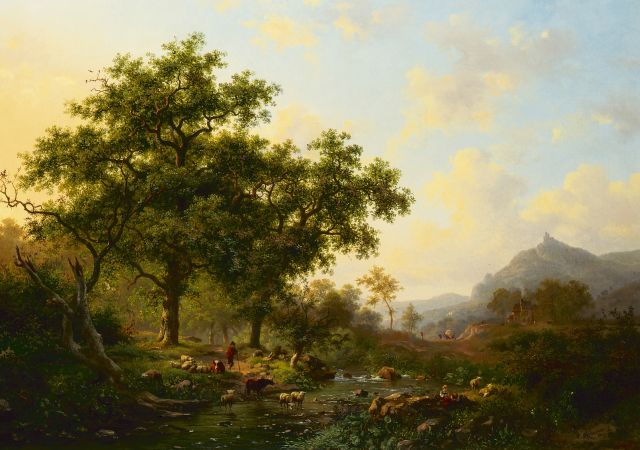 Frederik Marinus Kruseman | A wooded river landscape with watering cows, oil on canvas, 50.0 x 70.0 cm, signed l.r. and dated 1869