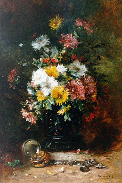Cauchois E.H.  | Still life with chrysanthemums, oil on panel, 46.2 x 31.3 cm, signed l.r.