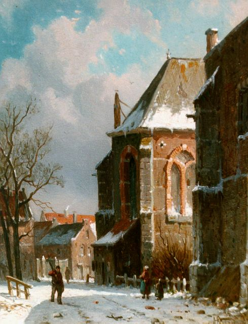 Adrianus Eversen | A snow-covered street, oil on panel, 19.0 x 15.1 cm, signed l.r.