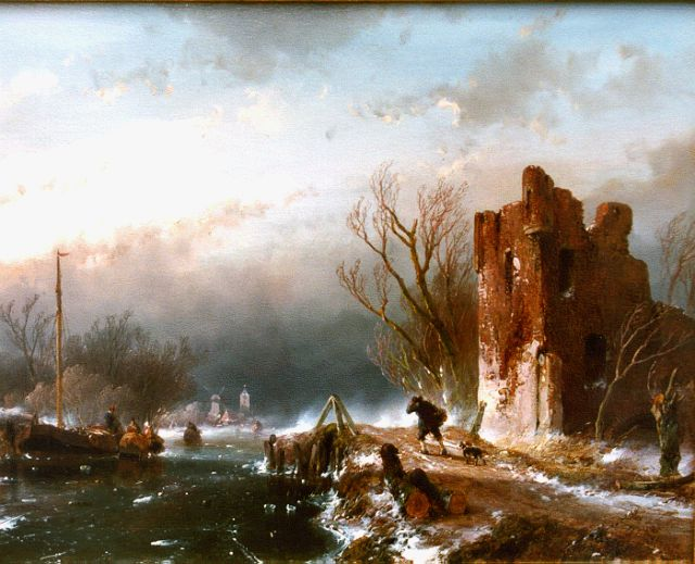 Andreas Schelfhout | A winter landscape with figures on the ice, oil on panel, 23.2 x 28.9 cm, signed l.r. and dated '56
