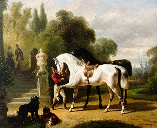 Wouterus Verschuur | Preparing for a ride, oil on panel, 23.3 x 28.3 cm, signed l.r.