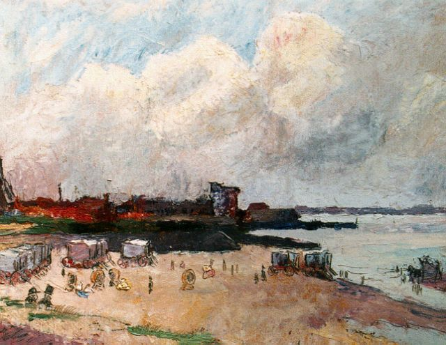 Toorop J.Th.  | View of the beach, Vlissingen, oil on panel, 20.7 x 22.7 cm, signed l.r.