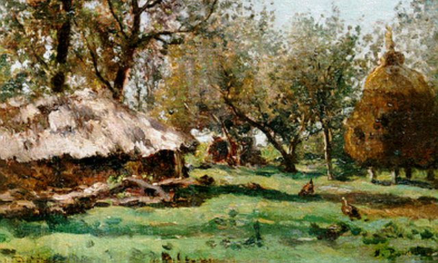 Roelofs W.  | Farmyard 'Ruurlo', oil on canvas laid down on panel, 24.3 x 39.5 cm, signed l.l.