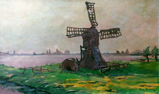 Adri Pieck | A windmill in a summer landscape, oil on canvas, 30.4 x 50.2 cm, signed l.r.