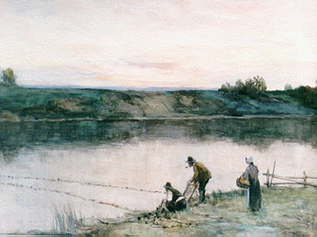 Ferdinand Bernhard Höppe | Anglers on the riverbank, watercolour on paper, 46.5 x 64.5 cm, signed l.r.