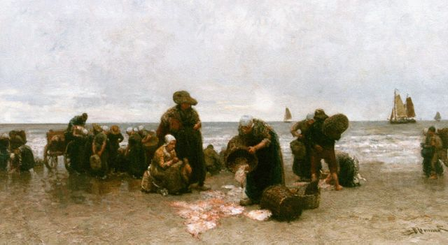 Bernard Blommers | Sorting the catch, Katwijk, oil on canvas, 72.2 x 122.5 cm, signed l.r.