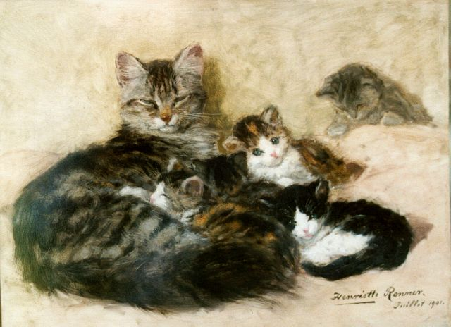 Henriette Ronner-Knip | Mother's pride, oil on panel, 33.7 x 45.2 cm, signed l.r. and dated Juillet 1901