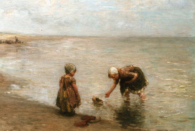 Bernard Blommers | Children playing on the beach, oil on canvas, 58.5 x 77.0 cm, signed l.r.