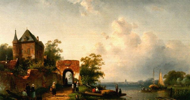 Charles Leickert | A river landscape in summer, oil on panel, 24.7 x 40.0 cm, signed l.r. and dated 1864